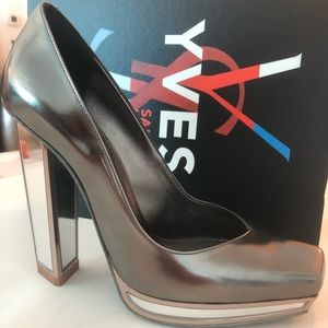 YVES SAINT LAURENT METALLIC MIRROR-HEELED PUMPS